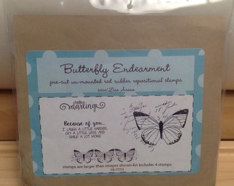 BUTTERFLY ENDEARMENT Unity Stamp Company red rubber unmounted cling stamp set Unused