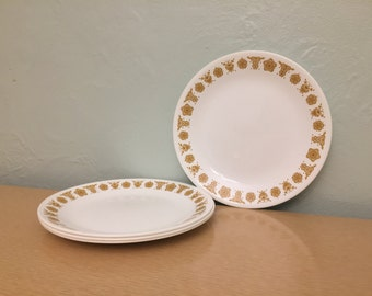"Four Corelle Butterfly Gold 8.5"" Lunch / Salad Plates"