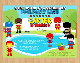 Superhero Pool Party Birthday Invitation
