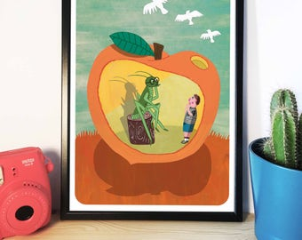 A3 James and the Giant Peach inspired illustration, Artwork, Art Print