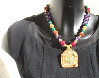 Necklace pendant ethnic Sterling vermeil beads.