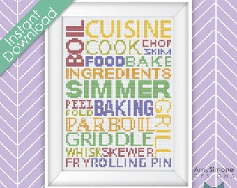 Cooking Typography Cross Stitch Pattern