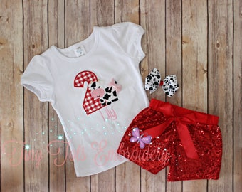 Barnyard Birthday Outfit ~ Cow Sequin Shorts Outfit ~ Includes Top, Sequin Shorts and Hair,Bow ~ Customize in any colors!