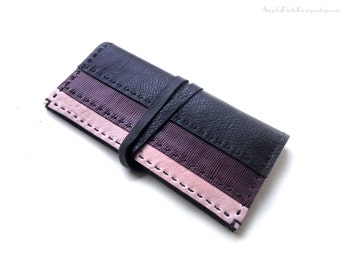Leather Clutch Wallet for her in black, red purple and powder pink. Long Womens wallet. Wrap wallet in black. Valentines gift for her.