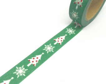 Christmas Tree and Snowflakes on Green Washi Tape 15mm x 10m