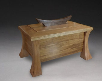 Reclaimed strand bamboo box with curved legs - Cherry and Walnut
