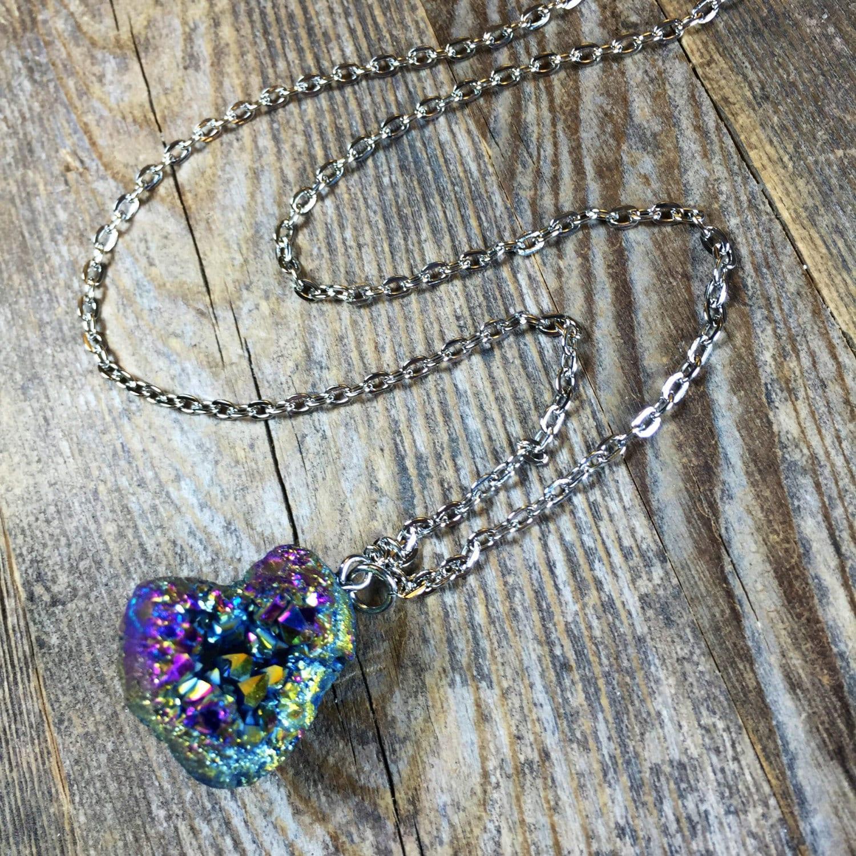 rainbow quartz crystal necklace quartz crystal druzy necklace. Black Bedroom Furniture Sets. Home Design Ideas