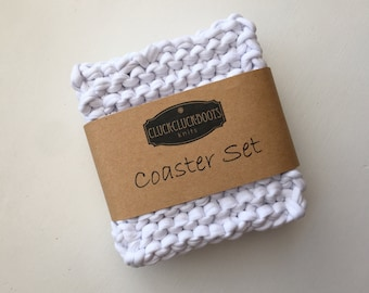 Knitted T-Shirt Coaster Set - White