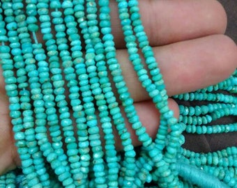 13 Inches Strand, Blue Natural Arizona Sleeping Beauty Turquoise Rondelles, 3-3.5mm