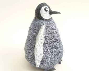 Baby Penguin Sculpture - Bird Ornament, Penguin Figurine, Black & White Animal, Penguin Decor, Funny Animal