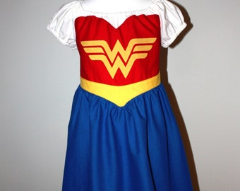 Child Sized Wonder Woman Cotton Dress