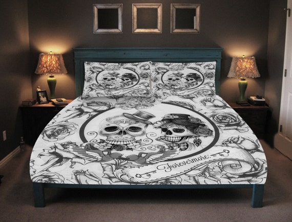 Skull Bedding Day Of The Dead Duvet Comforter By FolkandFunky