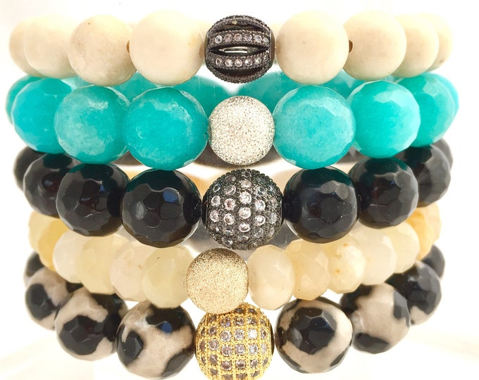 Full Bracelet Stack of Agates- Turquoise- Jade Topaz- Fossil and Amazonite-  Stackable Bracelets- Graduation Gits- Girlfriend Gift