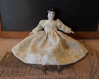 "Antique China Head Doll 6 1/2"""