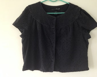 Jacket top, 1991 vintage top, Eyelet embroidery fabric, Faded black, front button blouse,Size L - XL, Womens Plus size