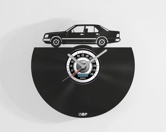 Mercedes Benz W124 wall clock from upcycled vinyl record (LP) | Hand-made gift for Mercedes Benz fan | Mercedes fan home wall decoration