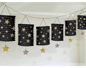 12 ft Hollywood Starry Night VIP Party Paper Lantern Garland Decoration - Movie Night - Awards Party Decor