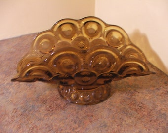 Vintage 1960s L. E. Smith Moon and Stars Amber Banana Boat / Fruit Holder / Centerpiece Bowl