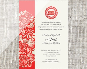 DIY Printable Chinese Wedding Celebration Invitation Card Template Instant Download Lotus Painting