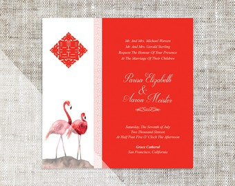DIY Printable/Editable Square Chinese Wedding Invitation/RSVP Template Instant Download_Scarlet Flamingo Water Color婚禮喜帖 喜喜Double Happiness