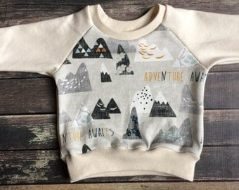 Organic Sweatshirt - Adventure Awaits - neutral baby clothes, modern organic baby, mountain baby, outdoor adventure, fall toddler outfit