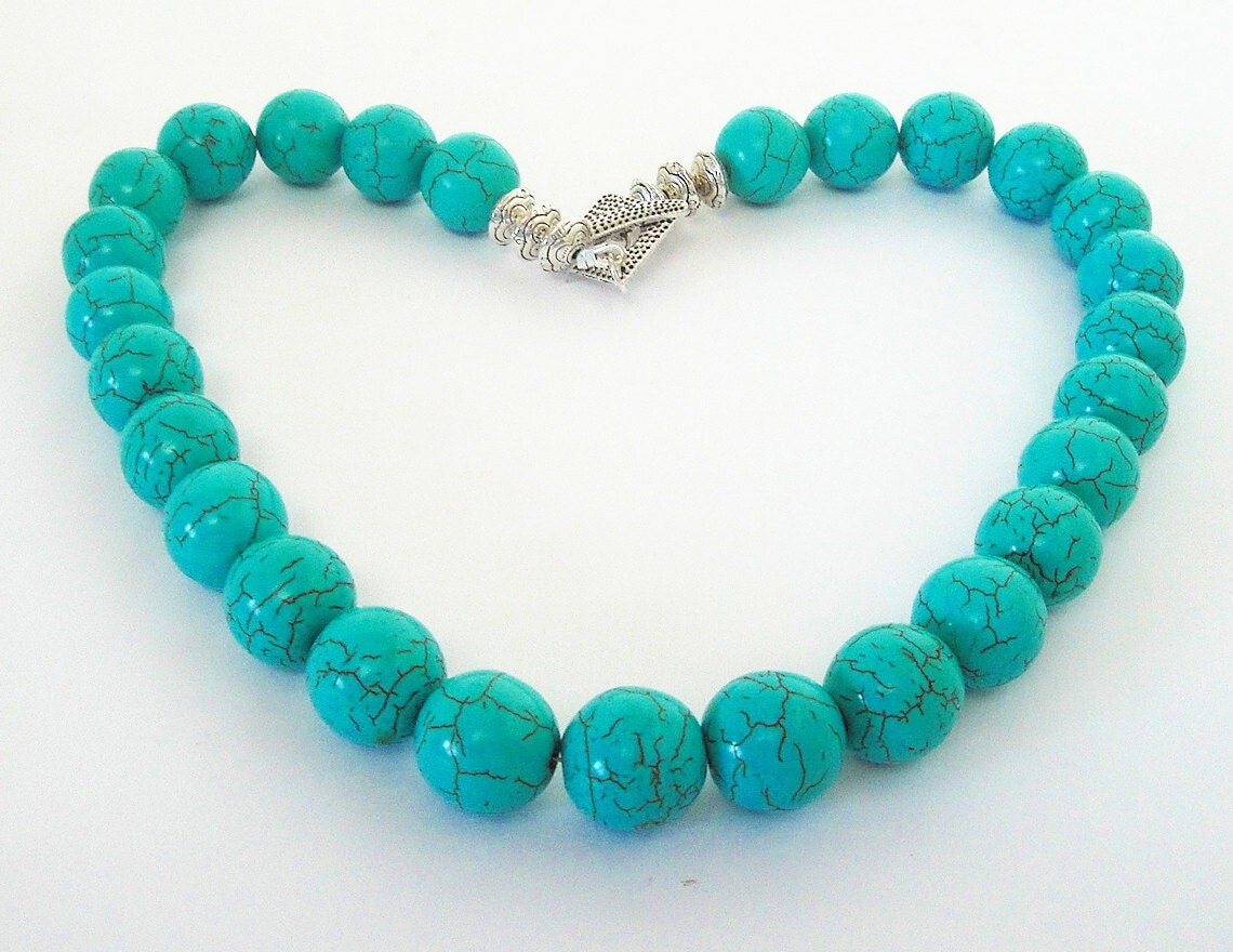 one layer turquoise necklace blue chunky necklace