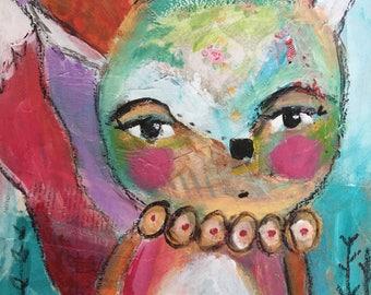 Playful mixed-media fox print