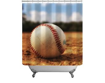 Baseball Shower Curtain Sports Bath Decor Baseball In Field Boys Bathroom Decor