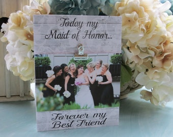 Wood Maid of Honor Frame, Matron of Honor Picture Frame, Bridesmaid Wedding Picture Frame, Maid of Honor Gift, Best Friend Wedding Frame