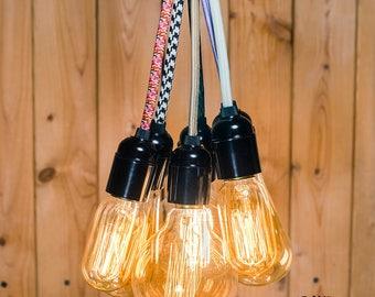 Versatile Edison bare bulb pendant light industrial style plug in or socket screw adaptor