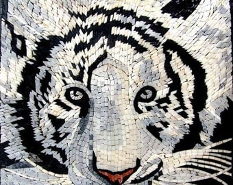 Wildlife Mosaic White Tiger