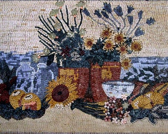 Sunflowers and Fruit Still life Mosaic Artwork
