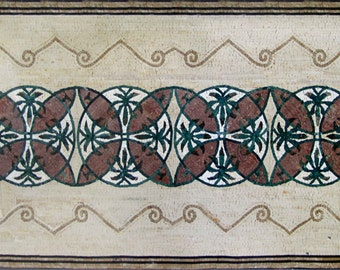 Geometric Rectangular Marble Floor Mosaic
