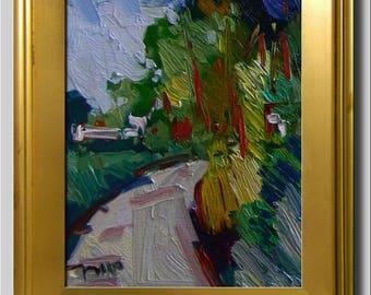 Plein Air Landscape Painting, Impressionist Oil, Farm Painting, Road Painting, Impasto Painting