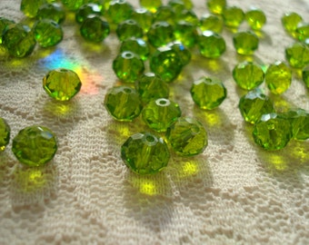 72 Stunning Olive Green Crystal Rondelles. 8x6mm. Exceptional Color. Not Dyed. Great Dangles and Sun Catcher Beads.  ~USPS Ship Rates/Oregon