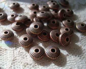 8mm Antique Copper Textured, Rondelle/Abacus Spacers. 8x3.5mm. 1.5mm hole. Quality Copper Spacers 26pc. USPS Ship Rates