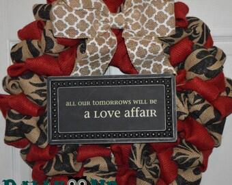 Valentines Wreath, Heart Burlap Wreath, Love Wreath, Wedding Wreath, Valentines Burlap Wreath, Heart Burlap Wreath, Mr. and Mrs. Wreath