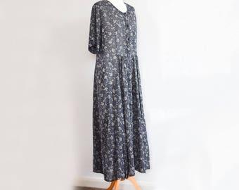 Lovely Vintage Dress Beautiful Navy Dress Good Condition Size 14 UK