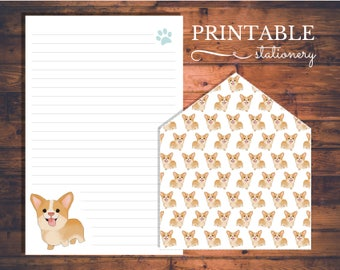 Corgi Printable Stationery Set - Instant Download Letter Writing Sheets and Envelope Liner