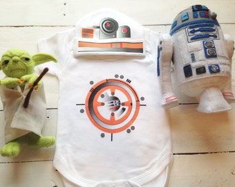 BB8 Baby BB8 Baby Costume Bodysuit  BB8 Tops  BB8 Hat BB8 Matching Set Hat BB8  BB8 One Piece Geek Baby Costume BB8 Outfit BB8 Baby Gift