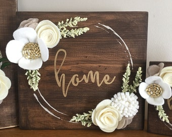 Home Felt Flower Wreath Sign - medium size