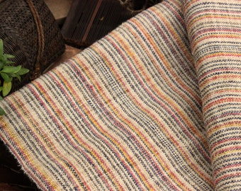 "Hmong Hand Woven Hemp wide 15.5"" Natural Organic Multi-Color New Fabric Textile By the Yard"
