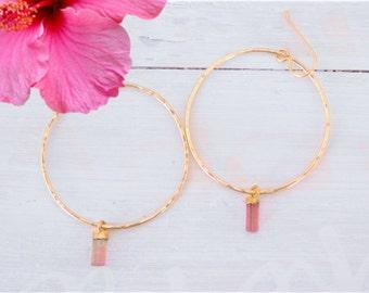 Pink Tourmaline Earrings, Gold Tourmaline Earrings, Raw Tourmaline Earrings, Pink Tourmaline Crystal Earrings, Gold Crystal Hoop Earrings