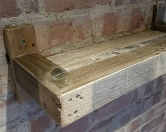 Rustic Upcycled Reclaimed Pallet Wood Shelf