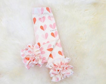 Peach heart double ruffle leggings, girls valentine's day outfit,newborn valentines day leggings, Valentine's day photo prop, Heart leggings
