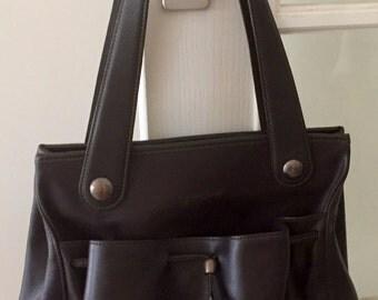 Shoulder bag satchel Longchamps, dark brown leather door.