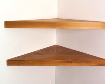 Set of 2 22 inch Floating Corner Shelves with Wheat Stain Handmade in the USA