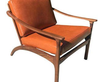 Custom Sculptural Danish Modern Leather Lounge Chair