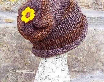 Handmade Beanie, Slouch, Slouchy, Skullcap, Knitted Woollen Hat, With Pretty Crocheted Flower.