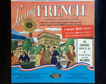 50's French Language Course on Vinyl- 40 Self Taught French Lessons 33 1/3 Vinyl Record Set - 1950s France Cultural History